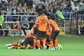 Shakhtar players piled on each other during the match between donetsk city ukraine vs chernomorets odessa city ukraine Royalty Free Stock Photo