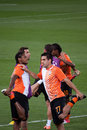 Shakhtar players warming up Stock Images