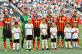 Shakhtar team with children before the match between donetsk city ukraine vs zenit st petersburg russia united tournament Stock Photography