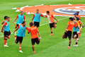 Shakhtar team players warm up before a match Stock Photography