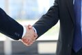 Shaking hands closeup of a business hand shake between two colleagues Royalty Free Stock Photos