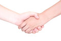 Shaking hands of two female people on white background Royalty Free Stock Photos