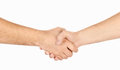 Shaking hands of two male people isolated Stock Photography