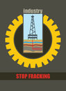 Shale drill rig anti hydraulic fracturing illustration Stock Photo