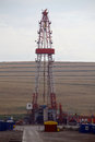 Shale gas drilling rig color shot of a on a field Stock Photography