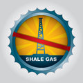 Shale gas label for the exploitation of ban Stock Photos