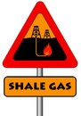 Shale gas sign warning for the possible pollution from the extraction of Royalty Free Stock Photography