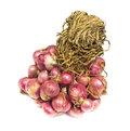 Shallot onions in a group isolated over white background Royalty Free Stock Photos