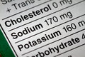 Shallow depth of field image of nutrition facts sodium information we can find on a grocery store product Royalty Free Stock Image