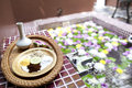 Shallow depth spa massage setting with thai herbal compress stam with detail Stock Photo