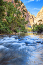 Shallow rapids of the virgin rive river narrows in zion national park utah Stock Image