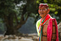 Shaman from the indigenous group of santo domingo ecuador august unidentified de los tsachilas Stock Photo