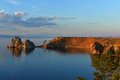 Shaman Rock at Sunset, Island of Olkhon, Lake Baikal, Russia Royalty Free Stock Photo