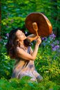 Spiritual ceremony with Shaman Woman among the flowers Royalty Free Stock Photo