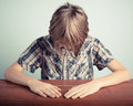 Shame little boy for the report card Royalty Free Stock Photography