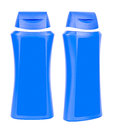 Shampoo blue containers isolated two closed plastic on white background Royalty Free Stock Photo