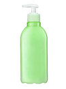 Shampoo bottle with pump studio photography of green plastic isolated on white background Stock Photography