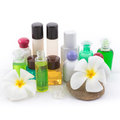 The shampoo bottle set with plumeria flower in spa of on white background Stock Photography