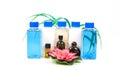 Shampoo bottles and oils beautiful shot of on white background Stock Images