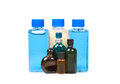 Shampoo bottles and oils Royalty Free Stock Photo