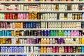 Shampoo Bottles For Sale On Supermarket Stand
