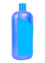 Shampoo container isolated blue plastic with blue blank sticker on white background Stock Photography