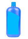 Shampoo container isolated blue plastic closed with blue blank sticker on white background Stock Images