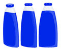 Shampoo containers isolated three blue plastic with blue caps on white background Royalty Free Stock Photography