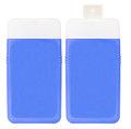 Shampoo containers isolated two closed blue plastic on white background Royalty Free Stock Photo
