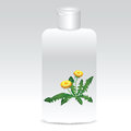 Shampoo with dandelions plastic bottles cosmetics of vector illustration Royalty Free Stock Photography