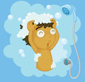 Shampoo illustration of a boy shampooing Stock Image