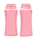 Shampoo pink containers isolated two closed plastic on white background Stock Photos