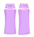 Shampoo purple containers isolated two closed plastic on white background Stock Photos