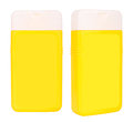 Shampoo yellow containers isolated two closed plastic on white background Royalty Free Stock Photos