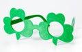 Shamrock glasses st patricks day shaped isolated on white background Royalty Free Stock Photo