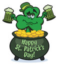 Shamrock in pot of gold Stock Image