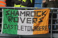 Shamrock rovers poznan poland november flag hung by irish fans before friendly football match between poland and ireland on Royalty Free Stock Photography