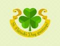 Shamrock symbol for saint patricks day with ribbon eps illustration Royalty Free Stock Images