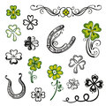 Shamrocks clover design elements colorful vector set black green Stock Image