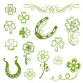 Shamrocks clover sylvester colorful vector set green Stock Images