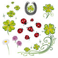 Shamrocks ladybug clover colorful design elements with Royalty Free Stock Photography
