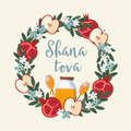 Shana Tova greeting card, invitation for Jewish New Year Rosh Hashanah. Floral wreath made of pomegranate and apple