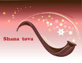 Shana tova holiday greeting card shofar horn for jewish new year background and stars Royalty Free Stock Images