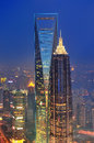 Shanghai aerial at dusk view with urban architecture Royalty Free Stock Image