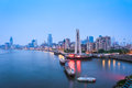 Shanghai bund in dawn beautiful of the and huangpu river was silent Stock Image