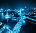 Shanghai bund at night with the garden bridge china Stock Photos