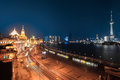 Shanghai bund night view at and beautiful huangpu river Stock Images