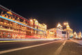 Shanghai bund street at night excellent historical buildings with vehicle trails of light on the Royalty Free Stock Photos