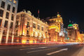 Shanghai bund streets at night outstanding historical buildings with vehicle trails of light on the street Royalty Free Stock Photography