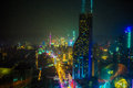 SHANGHAI CHINA Neon signs lit on streets